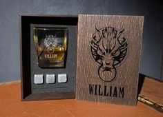 Fenrir wolf Final Fantasy 7 coaster and glass and 3 whiskey stones in personalized wood box. Groomsmen Gift Box, Groomsman Gifts, Whiskey Gift Set, Leather Coasters, Beer Bottle Opener, Italian Leather, Real Leather, Best Gifts For Men, Glass Boxes