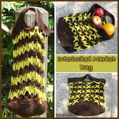FREE crochet pattern for an interlocked market bag. This bag has a lot of vertical stretch, but if you pack it full enough at the bottom it will stretch horizontal, making it the perfect crocheted bag for your groceries.