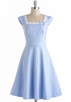 Day on the Breezeway Dress - Long, Blue, White, Solid, Bows, Embroidery, Daytime Party, Fit & Flare, Cap Sleeves, Vintage Inspired, 50s