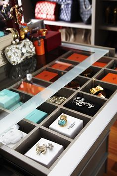 Adore Magazine - closets - walk in closet, luxurious closet, glass top closet island,
