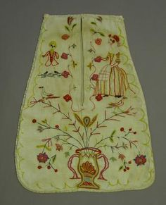 Pocket, to be tied around waist underneath your skirt.  Embroidered scene