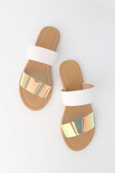 Sandales plates, cuir, diaza argent Jonak Les Dernières
