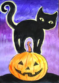 Black cat painting Cat's are usually hard to draw for young kids, but this project makes it easy! This tutorial shows how to make a sly cat who arched his back while standing on Jack-o-lantern step-by step. This is a project for 6-8 years old but can be done by 5 year old kids as …