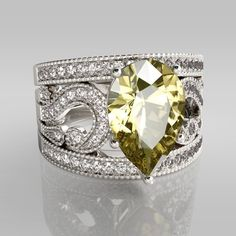 3PC Pear Cut Citrine Rhodium Plated Sterling Silver Women's Ring