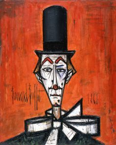 View Clown au chapeau noir fond rouge By Bernard Buffet; oil on canvas; Access more artwork lots and estimated & realized auction prices on MutualArt. Images Vintage, Vintage Posters, Image Fruit, Image Halloween, Image Nature Fleurs, Art Aquarelle, True Art, French Artists, Magazine Art