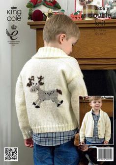 Childrens Christmas Cardigan pattern Knitted Rudolph Cardigan - King Cole Christmas knitting