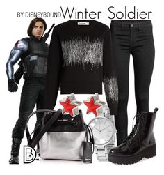 """""""Winter Soldier"""" by leslieakay ❤ liked on Polyvore featuring Armani Exchange, Jil Sander, Miu Miu, Jeffrey Campbell, Givenchy, disney, disneybound and disneycharacter"""