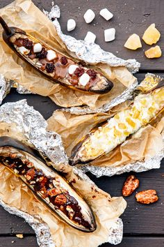Banana Boats are a classic campfire dessert and camping tradition! Learn how to make grilled banana boats with 9 different fun and creative topping combinations! Camping Desserts, Kid Desserts, Camping Meals, Kids Meals, Camping 2017, Camping Games, Camping Recipes, Camping Stuff, Camping Tips