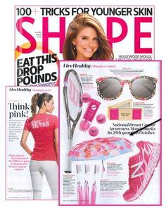 """The Avon Breast Cancer Crusade Umbrella was included in the October issue of SHAPE in """"Live Healthy: Shop for a Cause,"""" which featured a roundup of pink products for Breast Cancer Awareness Month."""