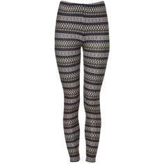 Blue Aztec Print Fleece Leggings ($7.78) via Polyvore
