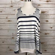 Xhilaration LARGE Peplum Top Shirt Hi Low Hem Navy Stripe Sleeveless EUC #Xhilaration #Peplum #Casual