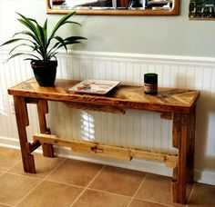DIY Pallet Sofa Table Plans #DIYIdeas >> Learn more at http://wiselygreen.com/29-wood-pallet-project-ideas-for-the-creative-diyer/