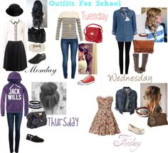 Loving all of these outfits except the Monday look. Its just not my cup of tea