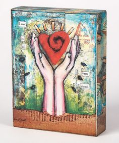 Take a look at this Blue & Red Heart & Hands Box Sign by Collins on #zulily today!