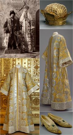 Empress Alexandra Fyodorovna's masquerade costume (17th century Ceremonial Dress of a Russian Tsarina), worn in 1903 for the Court Ball celebrating the Romanov Dynasty's Anniversary. State Hermitage Museum, St. Petersburg. Crown: Silk, brocade, morocco, imitation pearls. Dress: brocade, satin, taffeta, canvas, leather; metallic thread embroidery; artificial pearl decoration. Shoes: Brocade, leather, glass. Photos via the State Hermitage Museum, Vita_colorata on Live Journal, and The Epoch…