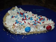 This pie is so creamy and delicious! Next time I make it I'm going to use shortbread cookies in place of chocolate chip cookies, just because I'm not a fan of chocolate chips and I think shortbread cookies would be awesome in this! My family loves chocolate chips but I think this recipe doesn't need them since the M&Ms are chocolate!  It looked very festive for our 4th of July cookout!