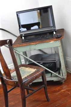 It's a true sign that technology is advancing when an old library cart finds purpose as a computer desk and printer storage. It's perfect for small spaces and would also make a lovely mini bar.