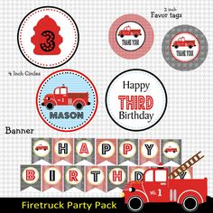 Firetruck Printable Party Pack Print Your by Partyperfectdesign, $20.00