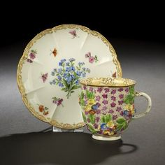 Meissen Porcelain Coffee Cup and Saucer, first quarter 19th century