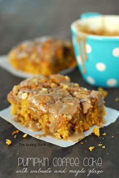 Pumpkin Coffee Cake Recipe with Diamond Walnuts and Maple Glaze. A delicious dessert or a decadent fall weekend breakfast!