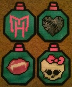 Monster High Inspired Plastic Canvas Ornament Set by PCDesignz, $3.00