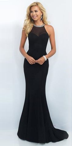 Black Mermaid Crystal Beading Crew Neck Her Prom Dress – HisandHerFashion.com