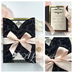 Wedding Invitation true blush, black flocked velvet damask and gold