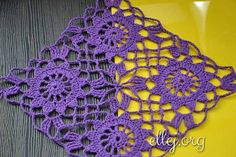 Crochet by ellej: Openwork summer square motif - free Russian photo tutorial with charts for squares and joining layout. Безотрывное вязание мотивов «Ажурное лето»
