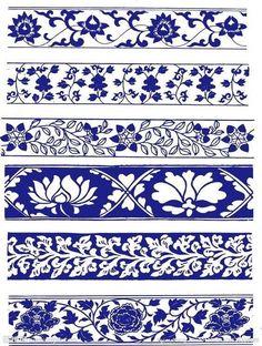 Arm, or leg, or waist band Border Pattern, Border Design, Pattern Art, Pattern Design, Tile Patterns, Textures Patterns, Fabric Patterns, Damask Decor, Thai Pattern