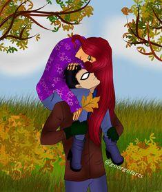 autumn by georgetarts on DeviantArt Teen Titans Love, Original Teen Titans, Teen Titans Fanart, Robin Starfire, Nightwing And Starfire, Gordon Batman, Catwoman Selina Kyle, Arte Dc Comics, My Little Pony Pictures