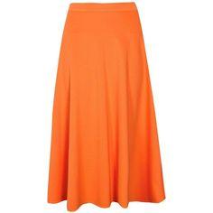 Boohoo Arianna Plain Full Circle Midi Skirt ($20) ❤ liked on Polyvore featuring skirts, circle skirts, knee length bodycon skirt, orange midi skirt, pleated midi skirts and ribbed midi skirt