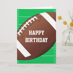 Shop Football Sports Fan Birthday Card created by adams_apple. Personalize it with photos & text or purchase as is! 60th Birthday Cards, Birthday Cards For Boys, Birthday Wishes, Birthday Invitations, Invites, Happy Birthday Football, Sports Birthday, Sports Day Invitation, Cards