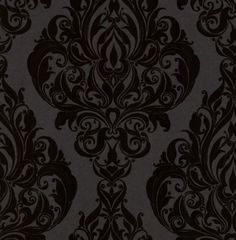 (downstairs bathroom) Kinky Vintage (50-223) - Laurence Llewelyn Bowen Wallpapers - An elegant Damask design in black flock on metallic black - other colour ways available. Please request a sample for true colour match. Paste-the-wall product.