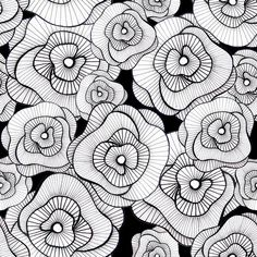 Estampa floristas, zentangle