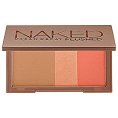 Urban Decay Naked Flushed in Streak - bronzer (pale bronze matte)/ highlighter (peachy shimmer)/ blush (bright coral) #sephora