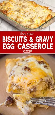 Love biscuits and gravy? Then you'll love this Biscuits and Gravy with Sausage and Egg Breakfast Casserole recipe. This breakfast dish is perfect to double for large groups and can be assembled the night before for practically no morning prep casserole Breakfast And Brunch, Breakfast Egg Casserole, Breakfast Dishes, Breakfast Biscuits, Hashbrown Breakfast, Breakfast Gravy, Group Breakfast, Egg Bake Casserole, Best Breakfast Recipes
