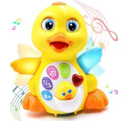 Musical Toys for 1 Year Olds, Flapping Yellow Duck Baby Toys Action Educational Learning and Walking Talking Dancing Toy Preschool Musical Toy Best Birthday Christmas Gift for Baby Toys 6 to 12 Months -- Click image to review more details. (This is an affiliate link)