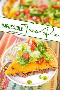 Taco Pie Recipes, Quiche Recipes, Mexican Food Recipes, Cooking Recipes, Chef Recipes, Mexican Dishes, Family Recipes, Chicken Recipes, Kitchens