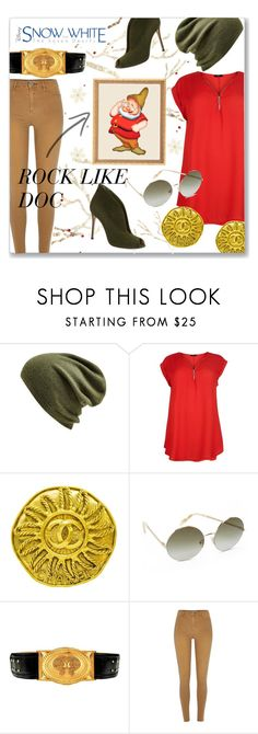 """""""Disney's Snow White and the Seven Dwarves"""" by chicjean ❤ liked on Polyvore featuring Echo, Chanel, Victoria Beckham, 7 For All Mankind, Balmain, River Island, Gianvito Rossi, women's clothing, women's fashion and women"""