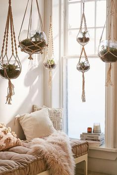 beachy boho bedroom Set of 5 macrame hanging glass terrariums from Urban Outfitters. What a great way to decorate a room for a beachy boho look! Boho Chic Bedroom, Boho Room, Boho Living Room, Beachy Room Decor, Decor Room, Boho Chic Interior, Christmas Decorations, Wall Decor, Living Room With Plants