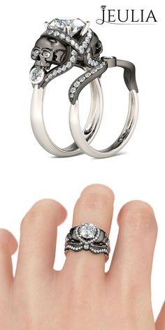 Jeulia 2-tone Round Cut Created White Sapphire Rhodium Plating Sterling Silver Skull Ring #jeulia