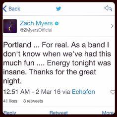 Via Zach: #Portland #Shinedown #ZachMyers   Barry Kerch Brent Smith Eric Bass Shinedown Shinedown Nation Shinedowns Nation Zach Myers
