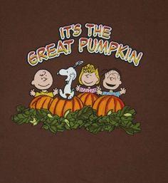 Peanuts Its The Great Pumpkin Charlie Brown Snoopy Thanksgiving L Adult T-shirt #Peanuts #ShortSleeve