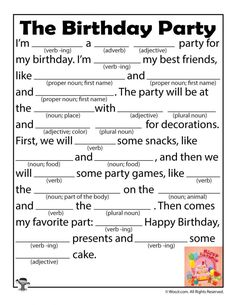 6 free printable birthday mad libs for kids (and grown ups, too! Free Mad Libs, Funny Mad Libs, Mad Lips, Glasgow, Student Birthdays, Nouns And Adjectives, Kids Education, Primary Education, Childhood Education