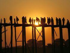 Sunset at U- Bein- Bridge, Amarapura, Myanmar Amarapura, Inle Lake, Yangon, Mandalay, Bridge, Wings, Album, Sunset, Travel