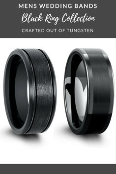 Mens Black Tungsten Wedding Rings. I love all these black wedding bands in this collections. I might just have to get him a few. I love the modern look of these mens wedding rings!