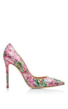 Lisa Printed Satin Pumps by Mary Katrantzou Now Available on Moda Operandi