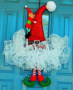 Red Mesh Santa Hat with an Elf and Elf Feet Door Hanger, Santa Elf Hat Christmas Wreath, Front Door Hanger, Front Door Wreath, Christmas Mesh Wreaths, Christmas Hat, Christmas Projects, Christmas Decorations, Christmas Ideas, Santa Wreath, Christmas 2019, Elf Hat, Santa Hat
