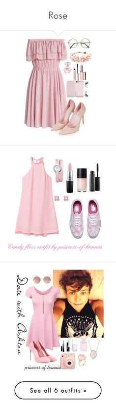 """Rose"" by princess-of-hannia ❤ liked on Polyvore featuring Chicwish, Forever 21, Topshop, Too Faced Cosmetics, Ted Baker, Unicorn Lashes, Clarins, MANGO, Vans and MAC Cosmetics"