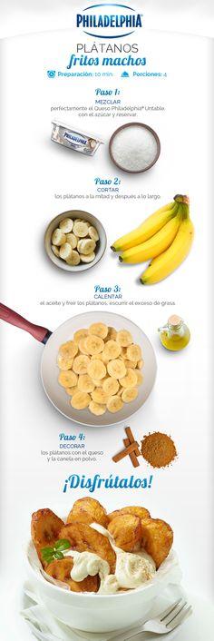 Deliciosos  Plátanos fritos machos con el toque de Queso Philadelphia®.